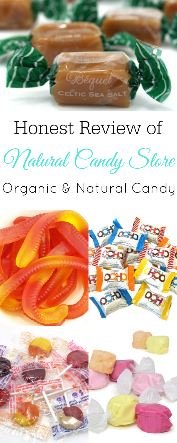 "Pictures of natural candy and text ""Honest Review of Natural Candy Store Organic and Natural Candy"""