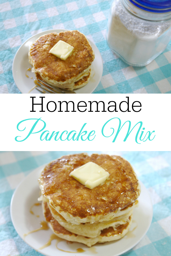 collage of homemade pancake mix and pancakes on aqua and white checked table cloth