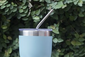 Stainless steel straw and thermos mug