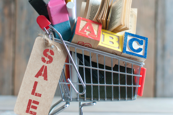 Shopping cart filled with stationery