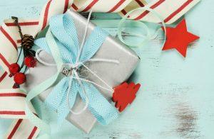 christmas gift on aqua background