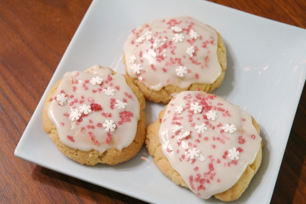 sugar cookies with peppermint icing on plate