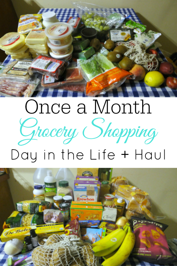 "Groceries on table plus text ""once a month grocery shopping day in the life + haul"""