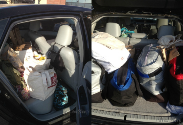 car full of groceries