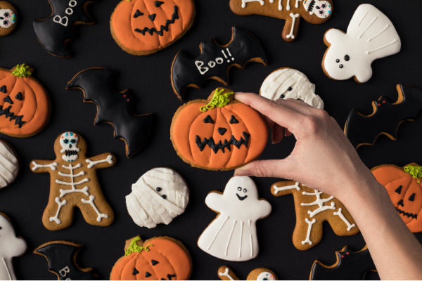 Halloween cookies on black background