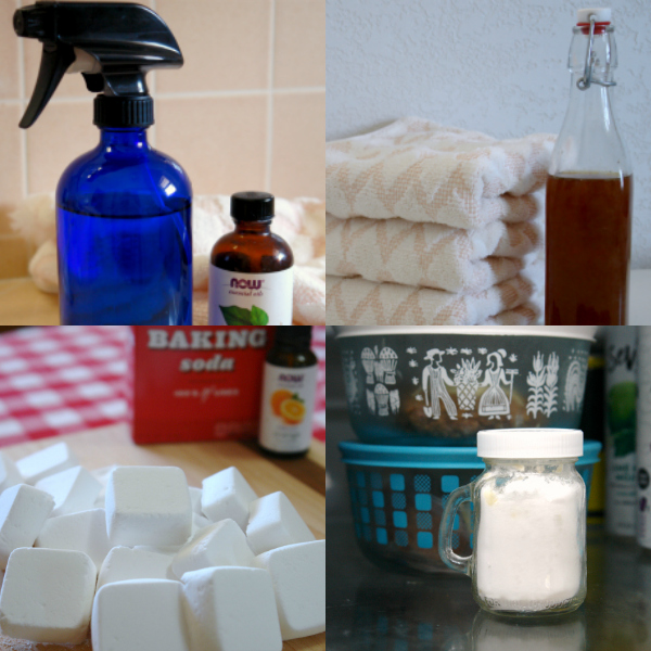 natural cleaning products collage