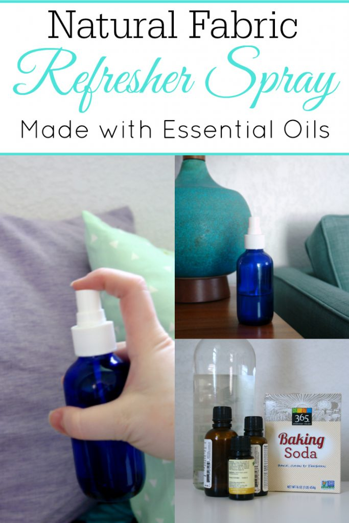photos of natural fabric refresher spray in a blue bottle