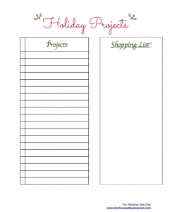 Holiday Project List