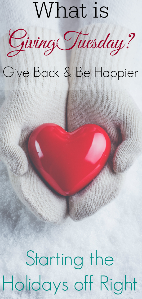 Female hands in white knitted mittens with a glossy red heart on a snow winter background