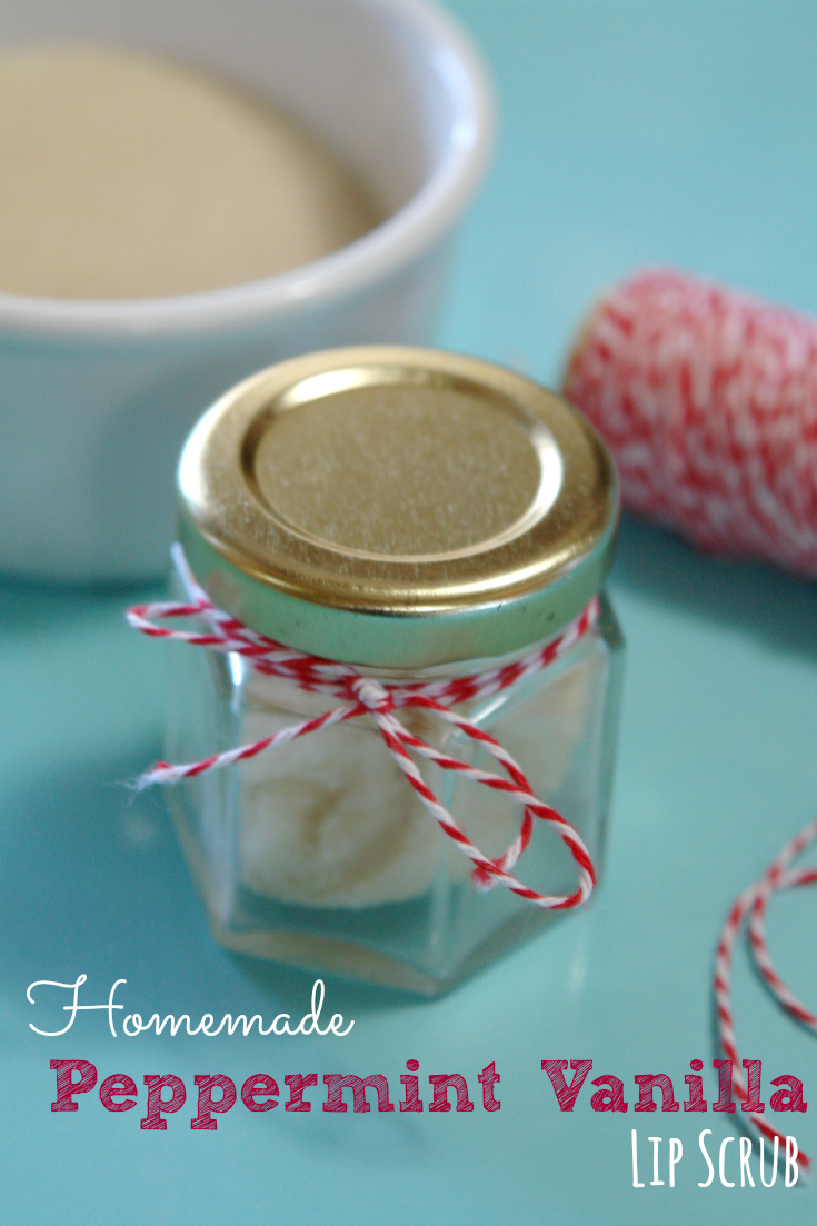 jar of peppermint vanilla DIY lip scrub and bowl of sugar