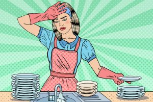 Pop Art Tired Housewife Washing Dishes at the Kitchen