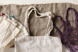 reusable bags on table