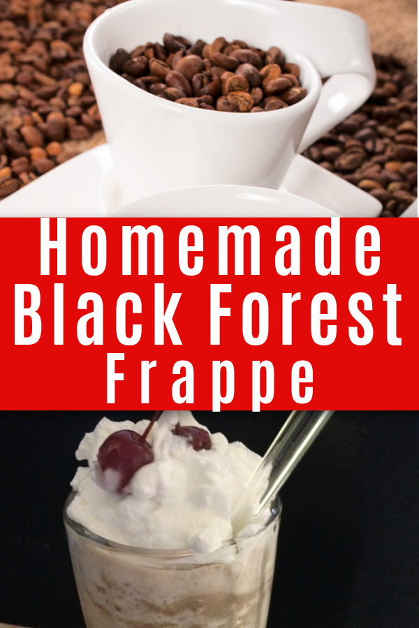 collage of coffee beans in white cup and Black Forest homamade frappe in glass with whipped cream and cherry