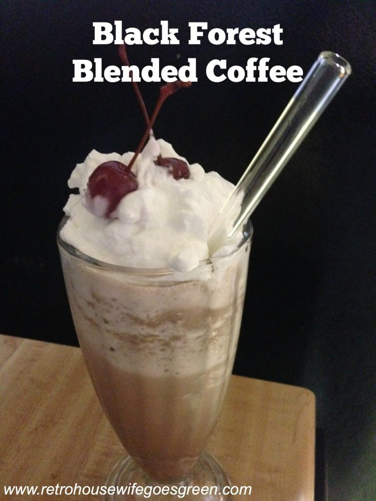 black forest frappe in glass with glass straw