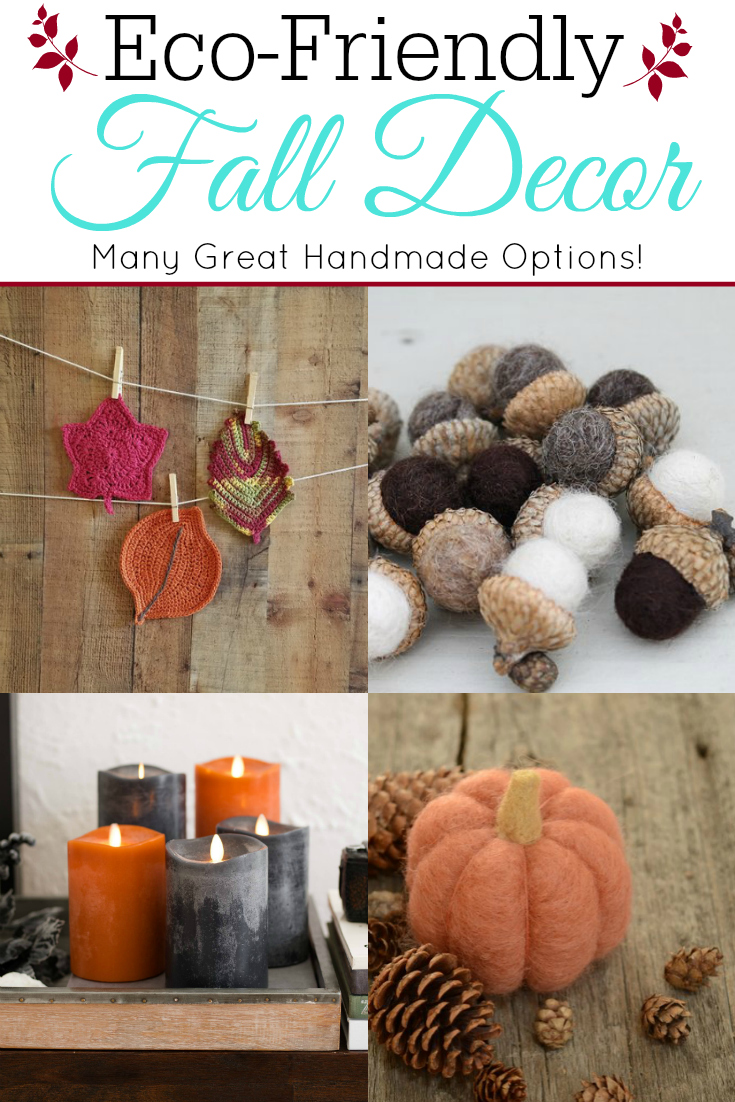 collage of eco-friendly fall decor