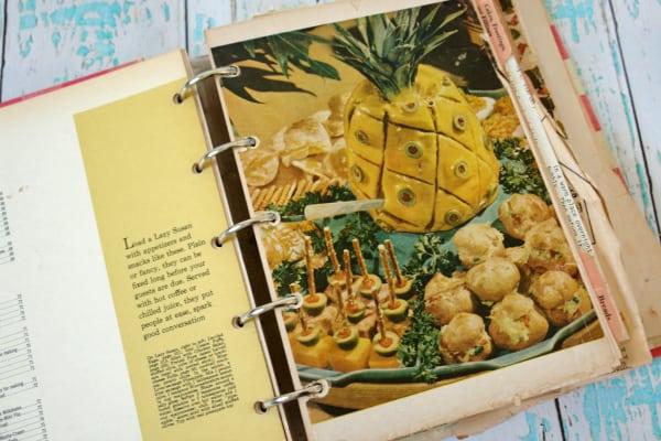 vintage cookbook open to vintage recipe