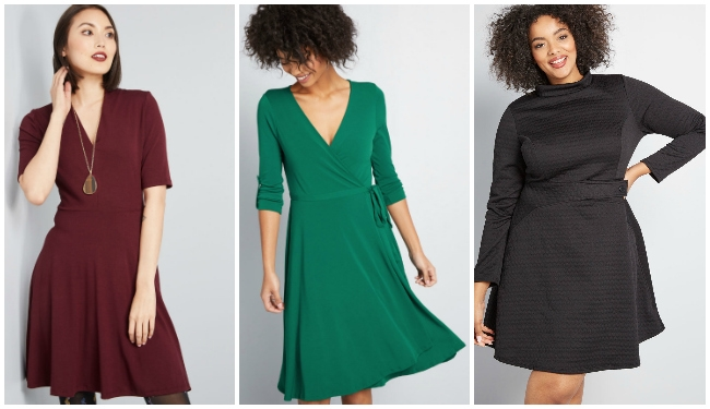 collage of holiday dresses