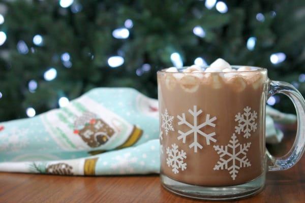 hot chocolate in snowflake mug