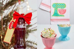 collage of vintage-inspired Christmas gifts from ModCloth