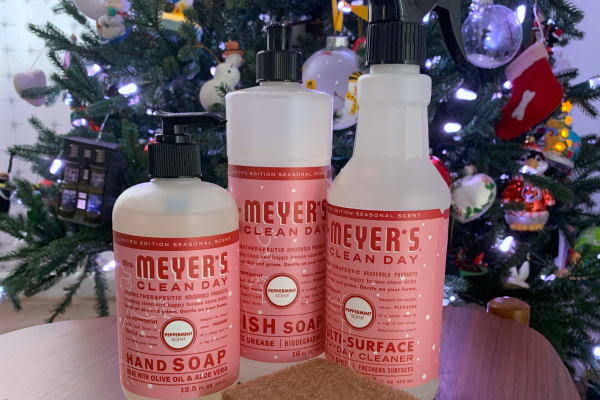 bottles of Mrs. Meyer's cleaners in peppermint