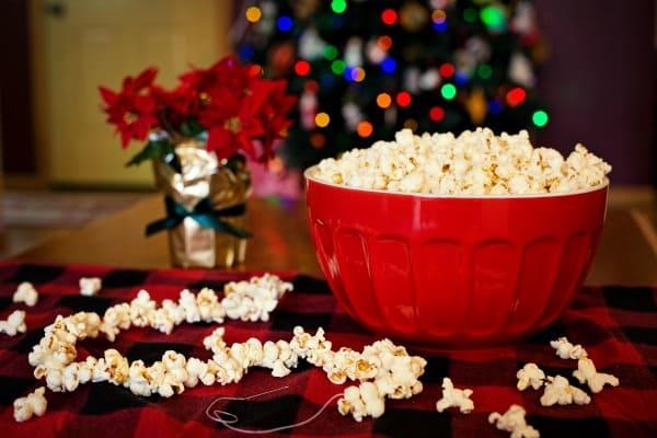popcorn in red bowl