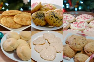 collage with six different kinds of holiday cookies