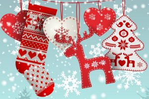stocking and ornaments on string