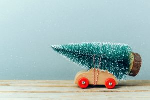 Christmas tree on toy car.