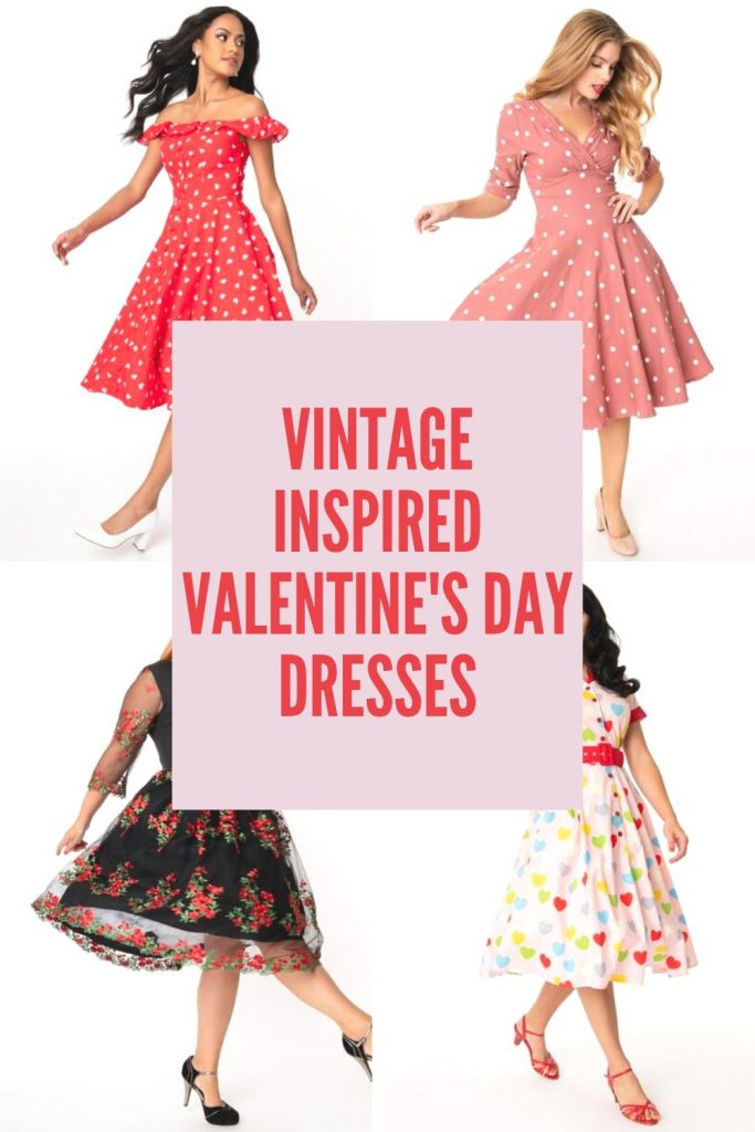 collage of Valentine's Day dresses