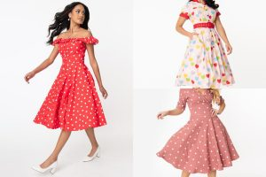 collage of vintage-inspired Valentine's Day dresses