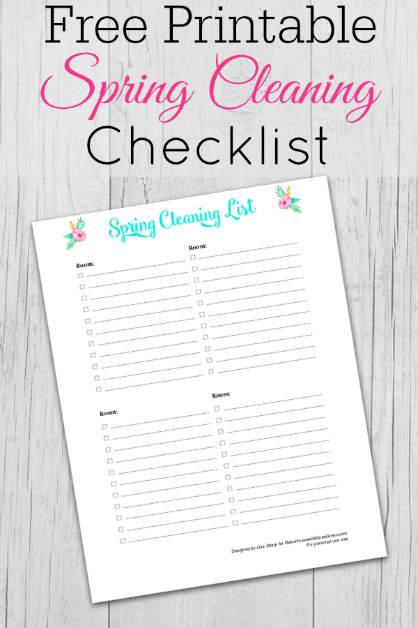 Grey wooden background with spring cleaning list