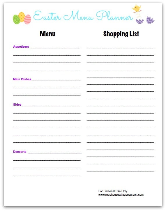 screenshot of Easter Menu Planner printable
