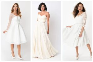 collage of three white vintage-inspired wedding dresses