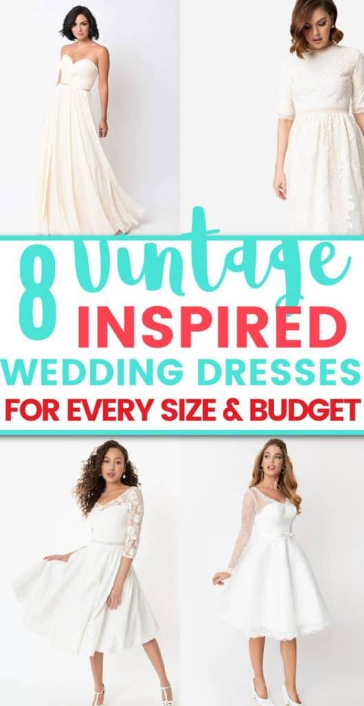 collage of vintage-inspired wedding dresses