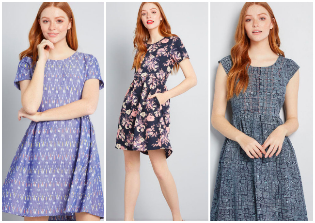 collage of fair trade ModCloth dresses