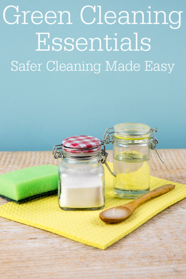 eco-friendly cleaning supplies on table