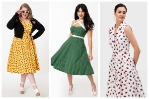 collage of summer vintage dresses