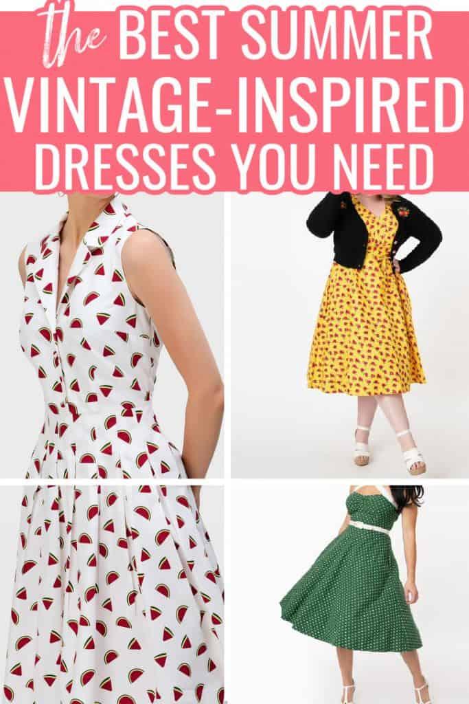 collage of summer vintage dresses