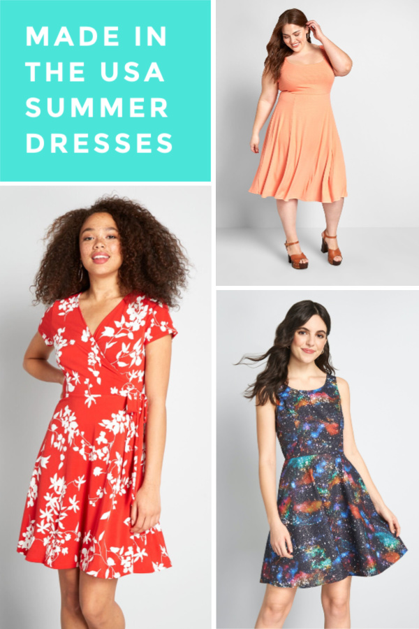 collage of summer dresses