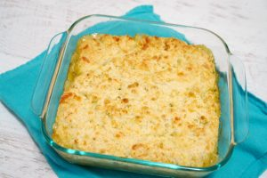 chicken pot pie in baking dish