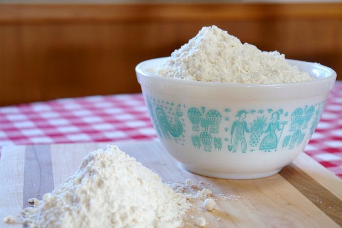 homemade baking mix in vintage pyrex bowl