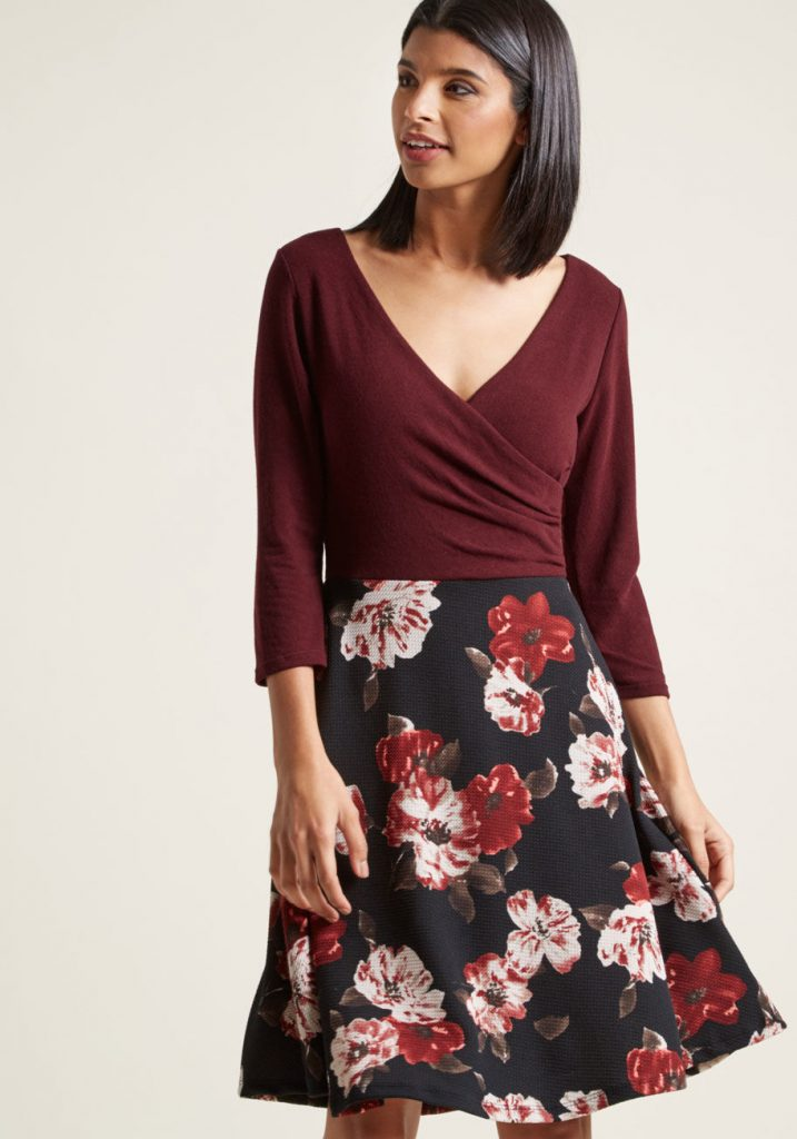 merlot and floral dress