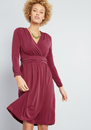 wine colored knit long sleeved dress