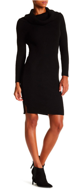 Cowl Neck Long Sleeve Sweater Dress