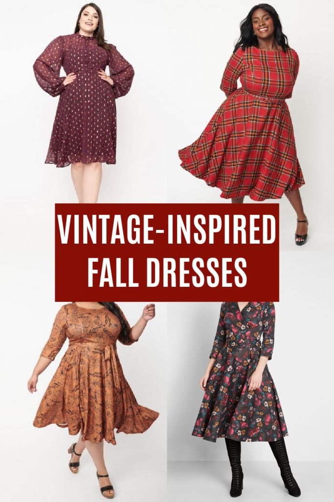 collage of vintage fall dresses