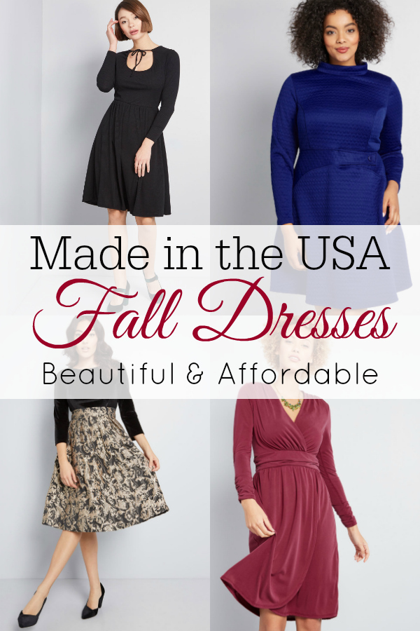 collage of fall dresses from ModCloth