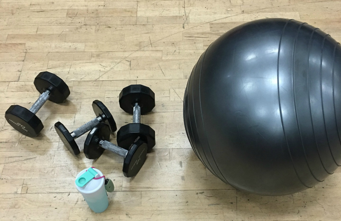 yoga ball and weights