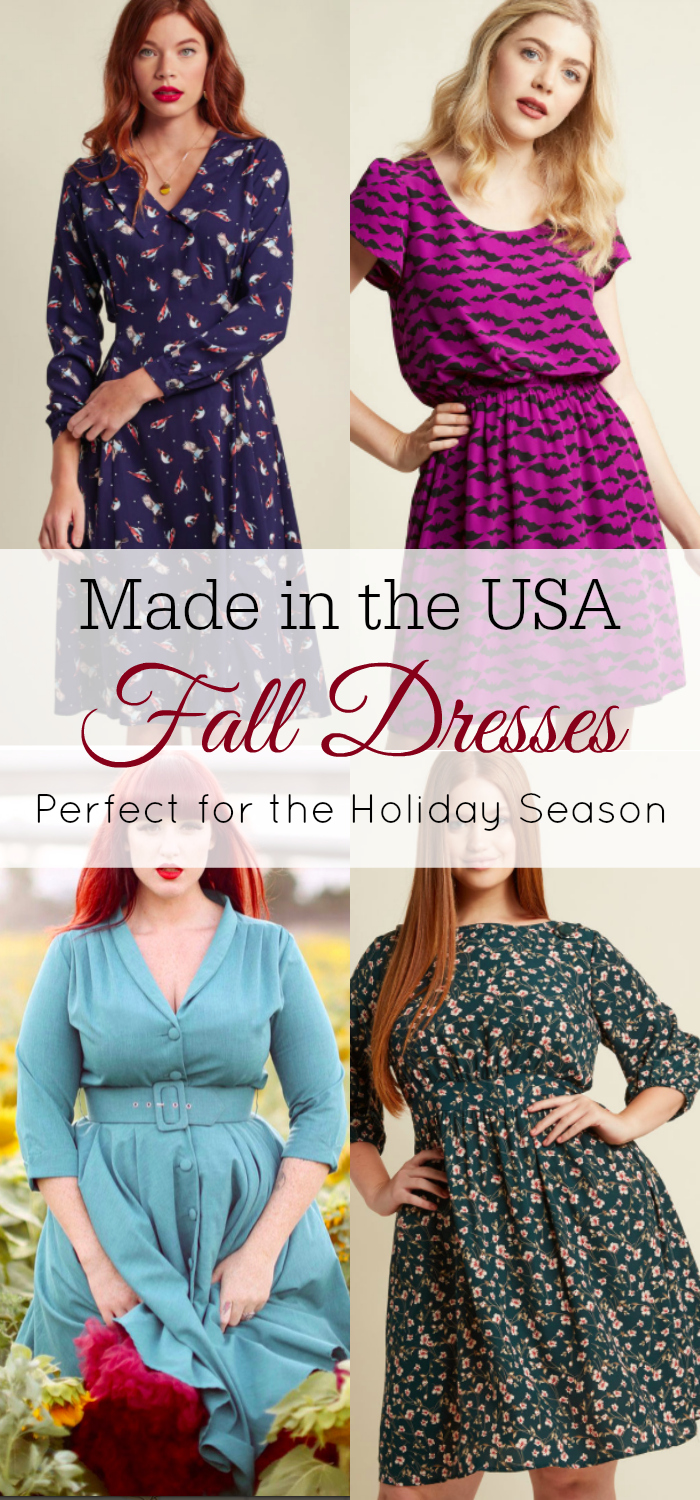 Made in the USA Fall Dresses, Holiday Dresses, Autumn Dresses