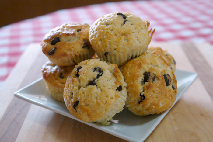homemade chocolate chip muffins, make ahead breakfast, muffins from scratch