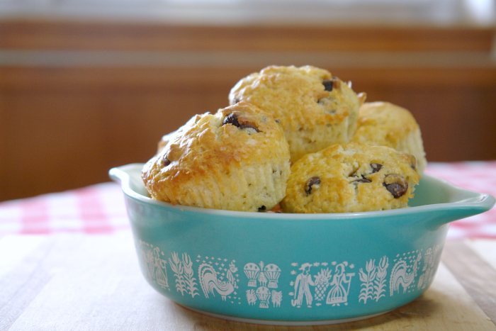 chocolate chip muffins in pyrex bowl
